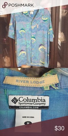 Men's Columbia Blue Marlin Fashion Casual Shirt This item is in great shape! It is 70% Silk! Columbia Shirts Casual Button Down Shirts