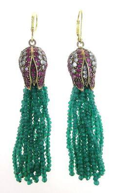 NEW DESIGNER Sterling Silver Gold Diamond Ruby Emerald Tassel Earrings at www.ShopLindasStuff.com