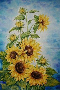 Paintings Of Sunflowers Sunflower Painting By Juan
