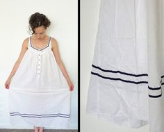 1990s NAUTICAL cotton night gown by eileen by JeezumCrowVintage, $25.00