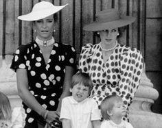 Princess Diana, Prince Harry and Prince William with Princess Michael of Kent