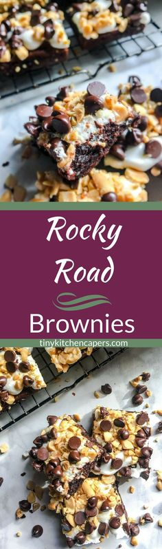 Gooey rocky road brownies covered in chocolate chips, peanuts, and mini marshmallows. #brownies #rockyroad #dessert | tinykitchencapers.com