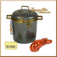 Lobster Pot with Lobster, Butter, & Towel Limoges Box Beauchamp.