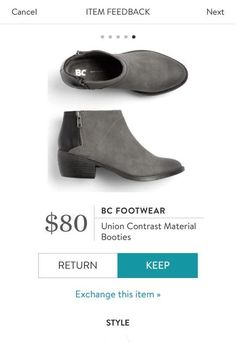 Stitch Fix Shoes! BC Footwear Union Contrast Material Booties - Grey booties with black colorblock on the back. Ask your stylist to send you these. #sponsored #stitchfix