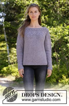 Agnes Sweater / DROPS - Free knitting patterns by DROPS Design Agnes Sweater / DROPS - Knitted sweater with round yoke in DROPS Sky. The piece is worked top down with lace pattern. Sizes S - XXXL. Knitting Kits, Loom Knitting, Knitting Designs, Knitting Patterns Free, Knit Patterns, Free Knitting, Free Pattern, Knitting Tutorials, Drops Design