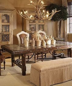 Interesting Trestle Table - old world style. LOVE the combination of rustic, antique, classical & country styles Dining Furniture, Furniture Design, Antler Chandelier, Marble Wood, Old World Style, Interior Decorating, Interior Design, Decoration, Home Accents