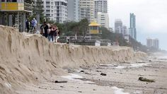 Surfers Paradise Beach has suffered major erosion after the coastline has again been hammered by large swells. Picture: Adam Head Source: The Sunday Mail (Qld)
