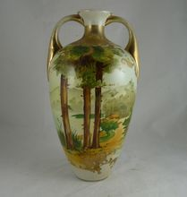 Nippon Porcelain Two Handled Vase with Scenic Design - Sold