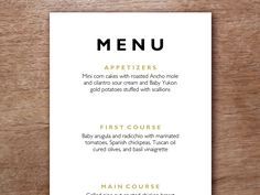 Menu card template to download and print. Just enter your text, print and cut.