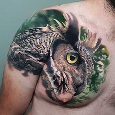 Eagle tattoo for men done by tattoo artist Nick Noonan Owl Eye Tattoo, Tattoos For Guys, Cool Tattoos, Buho Tattoo, Convention Tattoo, Different Styles Of Tattoos, Australian Tattoo, Skull Sleeve Tattoos, Native Tattoos