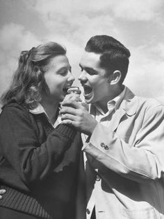 1950sunlimited:  Teens, 1947 Teen couple sharing an ice cream cone life
