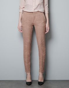 SKINNY JACQUARD PANTS - Trousers - Woman - ZARA
