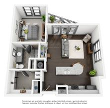 B2 Floorplan: 1 Bed, 1 Bath Endunit apartment 827 sq ft.