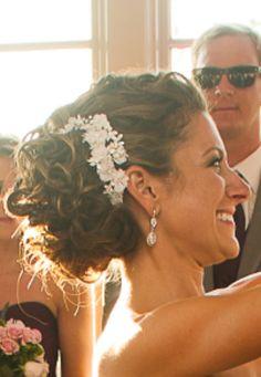 Wedding hair, updo, hair piece, loose curls, side do