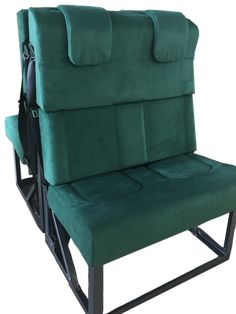 These seats are designed for motorhome second row seating. Upholstered in this gorgeous green, the owners of this motorhome had everyone green with envy! Bus Coach, Motorhome, The Row, Envy, Vehicle, Van, Stylish, Green, Design