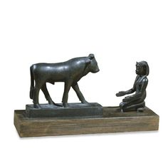 bronze statue of the King offering to the bull 600bc late period