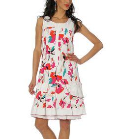 Look at this #zulilyfind! Fuchsia Floral Linen-Blend Scoop Neck Dress - Women & Plus #zulilyfinds