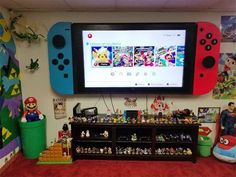 This is the flatscreen television… Awesome Nintendo Switch TV Wall Mount. This is the flatscreen television…,Upcycling Awesome Nintendo Switch TV Wall Mount. Tv Emoldurada, Boy Room, Kids Room, Boys Game Room, Nintendo Room, Nintendo Controller, Nintendo Party, Kirby Nintendo, Nintendo 2ds