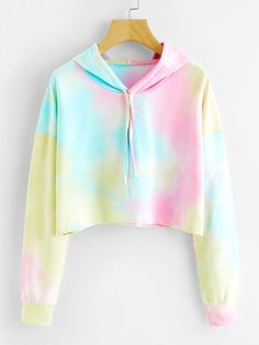 Tie Dye Drop Shoulder Crop Hoodie Multicolor Long Sleeve Drawstring Sweatshirt Women Autumn Athleisure Pullovers Multi One Size Girls Fashion Clothes, Teen Fashion Outfits, Outfits For Teens, Girl Outfits, Preteen Girls Fashion, Fashion Dresses, Womens Fashion, Crop Top Outfits, Cute Casual Outfits