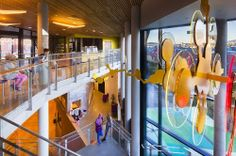 Ny Krohnborg School by Arkitektgruppen Cubus AS and Rambøll Norge « Inhabitat – Green Design, Innovation, Architecture, Green Building Norway Design, Bamboo Structure, Green School, Kids Library, Sport Hall, Learning Spaces, Too Cool For School, School Architecture, Town And Country