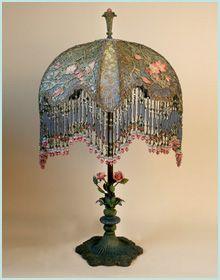 Victorian Lampshade on Antique metal base with Flowers