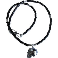 Black Swarovski Crystal Skull on Black Obsidian Men's Necklace with Hill Tribes Silver Accents