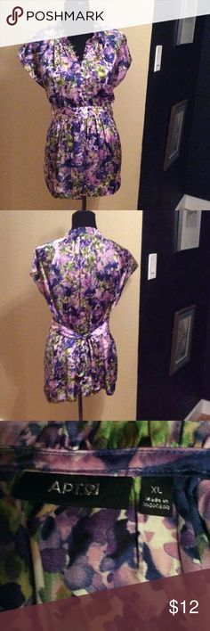 Floral Print Top sz XL Nice top Apt 9 brand in good condition. Fabric shown in pic. Shades of purple, blue , and green floral print. Apt. 9 Tops