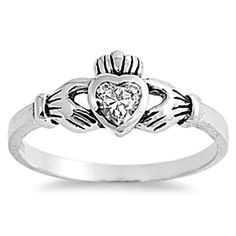 Sterling Silver Clear CZ Simple Claddagh Ring size 1 2 3 4 5 6 7 8 9