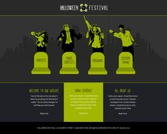 Fully editable Halloween Festiwal website template  #website #design #webdesign #business #createer #helloween #party #monsters