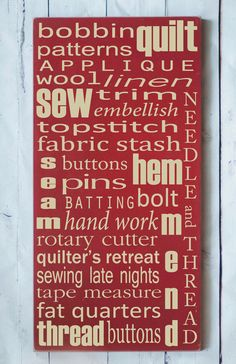 Quilting and Sewing  Subway Art Wooden Sign