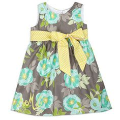 Girls Gray Aqua Floral Ava Dress