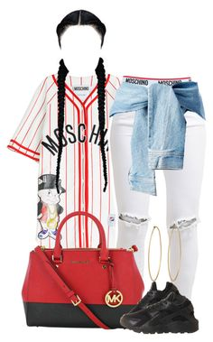 """""""Y'all miss me ?"""" by perfectlyy-imperfect ❤ liked on Polyvore featuring Moschino, FiveUnits, Michael Kors, NIKE and Social Anarchy"""