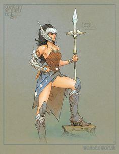 Justice League Redesigns Wonder Woman by Kenneth Rocafort Wonder Woman Art, Wonder Woman Kunst, Wonder Women, Dc Comics Characters, Dc Comics Art, Female Characters, Comic Book Artists, Comic Artist, Comic Books Art