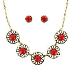 Shyanne® Women's Gold & Red Jewelry Set