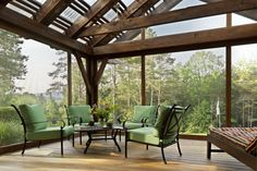 Locally sourced hemlock was used for the porch beams. Made from smaller trees…