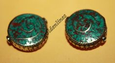 Nepalese Tibetan coral turquoise Beads 2 beads by goldenlines
