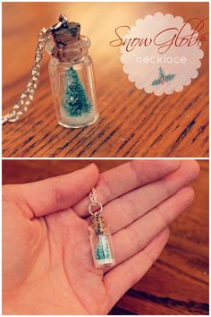 DIY Tiny Snow Globe Necklace Tutorial from Eat.Sleep.Make here. For another round snow globe necklace go here.