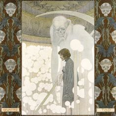 'Gevatter Tod / Godfather Death' by the Brothers Grimm, illustrated by Heinrich Lefler. Part of a fairy tale calender published 1905 by Berger & Wirth, Leipzig