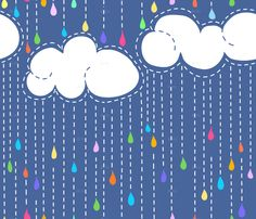 Rainbow rain by Vo from spoonflower