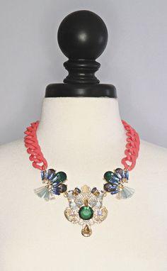 color me bright gem necklace - coral