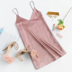V Neckline Satin Cami Dress