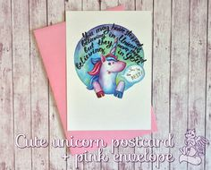 Set of lovely motivating postcard and pink envelope! Handwritten quote and cute magic unicorn will make your friends day =) Perfect for postcrossing lovers - postcrossers from around the world will be happy to get it! Or use the card as extra for friends birthday present. Watercolor illustration by Anna Zasorina  Size: postcard 105x148 mm envelope 115x163 mm   I have another shop (with hand knitted baby blankets) here: https://www.etsy.com/shop/RedFoxCozyPlace Welcome...