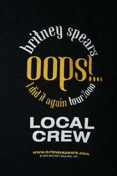Britney Spears Oops I Did It Again Tour Concert 2000 Local Crew Mens XL Shirt