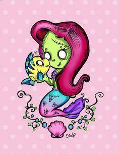 Cute zombie mermaid.