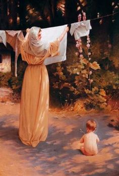 Polish Madonna- the Blessed Mother hanging laundry while the toddler Jesus plays at her feet.