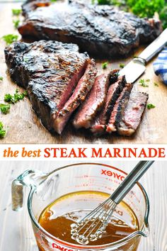 Summer is upon us, and this is -- by far -- the BEST steak marinade recipe for all of your grilling season needs! With soy sauce, maple syrup and plenty of garlic, it's the perfect combination of sweet and savory -- and it's ready with just 5 minutes of p Pfannengebratenes Steak, Strip Steak Marinade, Marinade Für Steaks, Steak Marinade For Grilling, Steak Marinade Recipes, Grilled Steak Recipes, How To Grill Steak, Grilling Recipes, Beef Recipes
