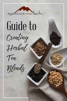 Guide to Creating Herbal Tea Blends: Looking to formulate the perfect tea blend for your needs? This guide full of loose leaf tea blending tips will help you choose the perfect ratios that will have you enjoying sip and after glorious sip! Herbal Tea Benefits, Best Herbal Tea, Best Tea, Herbal Teas, Making Herbal Tea, Smoothies, Mountain Rose Herbs, Homemade Tea, Tea Blends