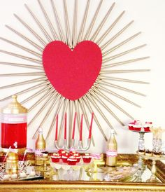 Great Valentine's Day dessert table backdrop! See more party ideas at CatchMyParty.com. #valentinesday #partyideas