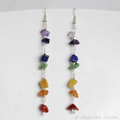 Spectrum Earrings - Silver Plated and with a Rainbow of Gemstones by nightowlcreative. Explore more products on http://nightowlcreative.etsy.com