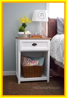 By: thecreativemom A farmhouse style nightstand. Designed to pair with a taller bed. The nightstand has a planked wood top and craftsman style base. There is one drawer and a […] Furniture, Wood Interior Design, Home Decor, Bedroom Furniture, Nightstand Plans, Bedroom Night Stands, Retro Side Table, Interior Design Bedroom, Nightstand Decor
